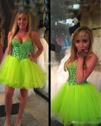 Wholesale Lime Green Short Ball Gown - Lovely 2016 Lime Green Homecoming Dresses Mini Junior Party Gowns Sequins Crystals A Line Tulle Sweetheart Cocktail Dresses Sexy Custom Made