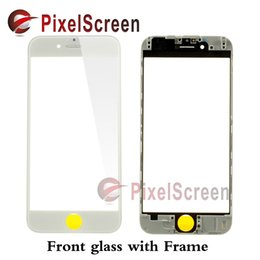 Wholesale cold press OEM Black White LCD Front TouchScreen Glass Outer Lens with Frame Bezel for iPhone S inch