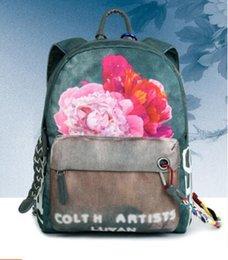 Wholesale The new national backpack bag graffiti printed canvas bag handbag and backpacking