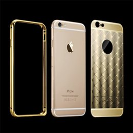 Wholesale Luxury Golden Aluminum Case Hybrid Frame Metal Diamond Grain Plating Back Cover for iPhone s Plus Galaxy S7 S6 Edge Plus Note