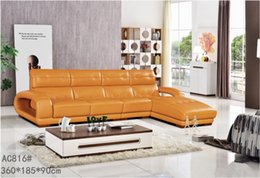 Wholesale GENIUINE LEATHER SOFA YELLOW FASION MODERM LUXURY STYLE LIVING ROOM SIMPLE FURNITURE GOOD QUALITY R AC816