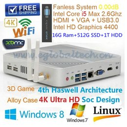 Wholesale Intel Core I5 U Fanless Mini PC Windows Win10 GB Ram GB SSD TB HDD HDMI USB3 Haswell Thin Client HTPC