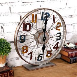 Wholesale 1pcs loft style creative industry hub clock bar decorated bike wheel clocks old metal wrought iron bicycle wheel clocks