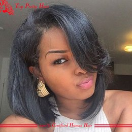Hot Hairstyles Short Human Hair Bob Wig Full Lace Virgin Malaysian Wig With Side Bangs Glueless Lace Wigs Front For Black Women Sotck