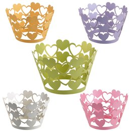 Laser Cut Love Heart Cupcake Wrapper Liners Bakeware Muffin Paper Cup Cake Wedding Gift Box Birthday Favor Baby Shower Kitchen Home Decor