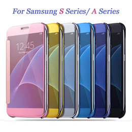 For Samsung Galaxy S7 Edge S6 Edge Plus S5 Luxury Smart Flip Slim View Electroplating Mirror Hard Clear Transparent Case Cover