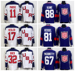 2016 Hockey Team USA World Cup Jerseys Blue White 88 Patrick Kane US Jersey 32 Jonathan Quick 67 Max Pacioretty 81 Phil Kessel 30 Ben Bishop