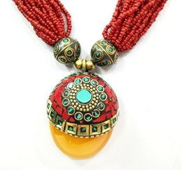 Wholesale Silver Turquoise Coral Tibetan Bracelet - 18'' Ethnic Red Bead Multilayer Necklace Pendant Tibetan Silver Amber oyzz-0013