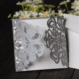 Wholesale 100x Silver Laser Cutting Free Personalized Customized Printing Wedding Invitations CW051 Envelope and Seals Included