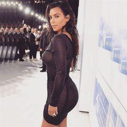 Promotion robes moulantes kardashian 2016 Kim Kardashian Robes de soirée Automne Deep V Neck Robe Sexy Femmes Plissé Voile Bodycon Robe Vestidos Robe