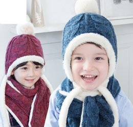 Wholesale Children Fleece Hat Scarf Wholesale - Designer Kids Cable Hats Set with Scarf Plus Fleece Children Winter Knitting Hats Scarves Korea Brand Baby Kids Accessories Supply