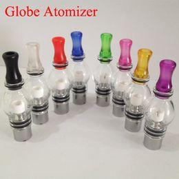 Wholesale wax vaporizer glassomizer glass globe wax atomizers with thread dual ceramic coil rod wireless wax atomizer cotton single coil in stock