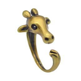 Wholesale 1pcs Vintage Boho Chic Mid Finger Cute Giraffe Animal Wrap Ring for Women and Girls Hot Fashion Jewelry Gift