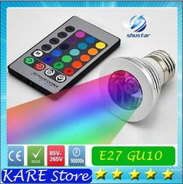 Wholesale LED RGB Bulb Color Changing W LED Spotlights RGB led Light Bulb Lamp E27 GU10 E14 MR16 GU5 with Key Remote Control V V