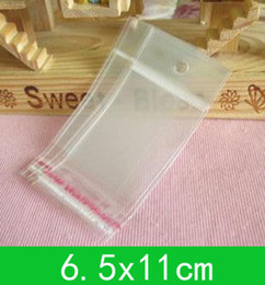 New hanging hole poly bags (6.5x11cm) with self-adhesive seal opp bag  poly bag for wholesale + free shipping 1000pcs lot