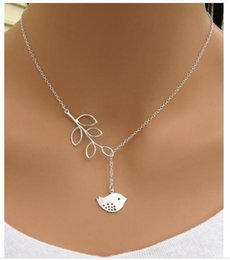 Wholesale Fashion personality bird leaves clavicle necklace of eight cross chain pendant jewelry nice charm gift for girl women