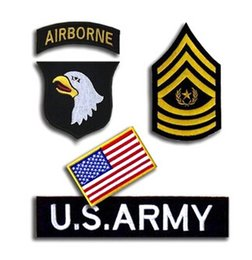 Wholesale BZ0028 set U S Army st Airbone Division Military Rank Embroidered STICK ON Badge Patch Military Iron On Patch