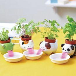 Wholesale Mini Self Watering Animal Tougue Pot new fashion hot Porcelain Peropon Drinking Cute Animal Planter