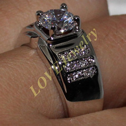 Eternity 925 Silver Round Simulated Diamond CZ Stone Ring for Men Women Size 9, 10, 11