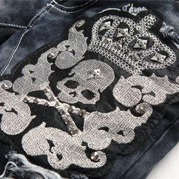 Wholesale Men high quality Skinny Destroyed Chain Blowout Trash Denim Crash Ripped Jeans biker moto fashion jean fashion ripped men jeans Size