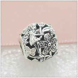New 2016 Spring 925 Sterling Silver Dazzling Daisy Fairy Charm Bead with Pink Enamel and Cz Fits European Jewelry Bracelets & Necklace