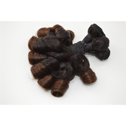 Ombre Aunty Funmi Hair Extensions, Brazilian Human Hair Spring Curly Bundle,G-EASY Romance Bouncy Curly Hair Weft Weaves