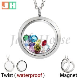 Waterproof and Magnetic Floating locket 316L stainless steel Glass living memory locket 20mm 25mm 30mm high quality free shipping no chain