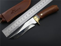 Wholesale Shootey M2 HRC High Hardness Cr17Mov Blade Fixed Knives Survival Knife Hunting Knife handmade copper Wooden handle