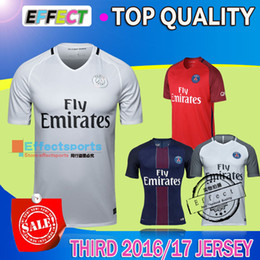 Wholesale 2017 Top Quality DI MARIA Soccer Jerseys Maillot de foot home blue Away White Red CAVANI VERRATTI BEN ARFA DAVID LUIZ football shirts