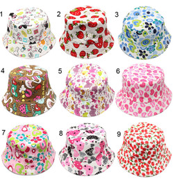 36 Color Children Bucket Hat Casual Flower Sun Printed Basin Canvas Topee Kids Hats Baby Beanie Caps B488