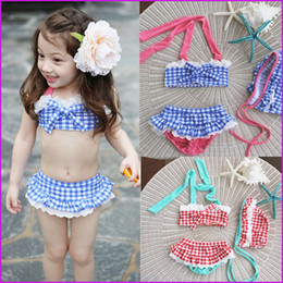 3pcs set Childs Bikini Straps Plaid Printed Beach Clothing With Hat Beach Clothes with cap Kids hot springs swimsuit Bathing Suits