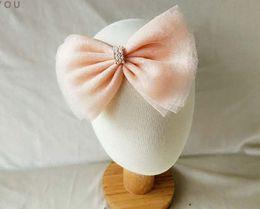 Baby Elastic Chiffon Flower Headbands Princess Girls Hand Sewing Beads Flower Headwear 0-3 years