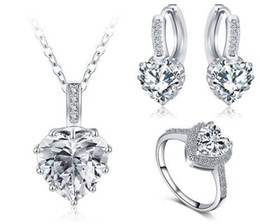 Newest Christmas Gift Women Jewelry Set Platinum Plate Necklace Earring Ring Parure Bijoux Femme Wedding crystal heart Jewelry Set CST0033