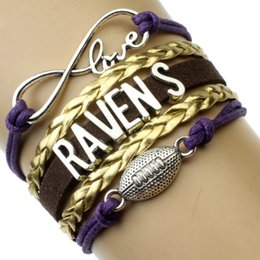 Wholesale Infinity Love Baltimore State Ravens Football Charm Wax Cord Wrap Braided Leather Bracelet bangles For Football Fans Best Gift Drop Shipping