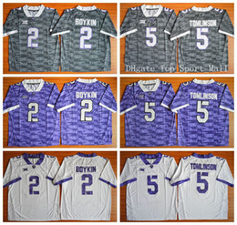 Wholesale TCU Horned Frogs Football Jerseys American College Trevone Boykin LaDainian Tomlinson For Sport Fans Team Color Gray Purple White