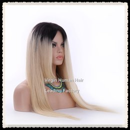 Classic Hairstyle Female Short Remy Human Hair Lace Wigs Straight Ombre 2 Tone Black Blonde Color