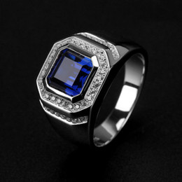 Free shipping Wholesale Ring High Quliry Solitarie Blue Sapphire 925 Sterling Silver Simulated Diamond Wedding Men Ring gift Size 8-13