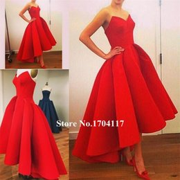 Free Shipping 2018 Prom Dresses Beauty Red Satin A-Line Skirts beauty Vestidos de Novia Sleeveless V-Neck Off the Shoulder Evening Gowns