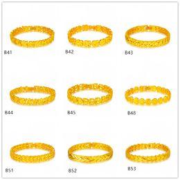 V shape lace Circular section yellow gold bracelet 6 pieces mixed style GTKB7 Online for sale fashion women's 24k gold bracelet