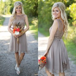 Cheap High Quality Short Bridesmaid Dresses Sheer Lace Bateau Neckline V Back Zipper Up Chiffon Skirt Prom Party Gowns with Removable Sash