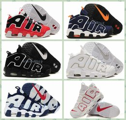 Wholesale 2016 Mens More Uptempo Sneakers Big Air Basketball Shoes Black White USA Olympics Retro Pippen Sport Running shoes US