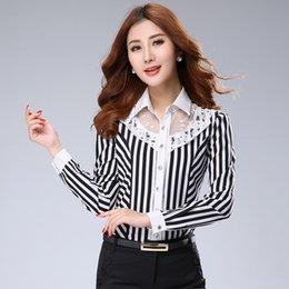 Wholesale Elegant Women Clothing Blouse Fall New Bud Silk Stripe Joining Together Temperament OL Office Long Sleeve Chiffon Shirt Big Yards