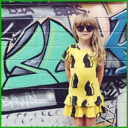 new arrival girls sundresses hot selling children yellow vestidos cat printed plicated dress factory killing price fast free shipping