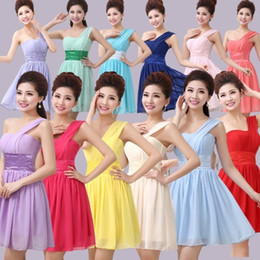 One Shoulder Pleated Short Chiffon Bridesmaid Dress 2016 Ball Gown Wedding Party Dress Lace Up Back