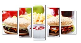 Wholesale LK5154 Panel Wall Art Delicious Hamburger And Chips Food Oil Painting On Canvas Pictures Prints On Canvas For Home Or Restaurant Modern D