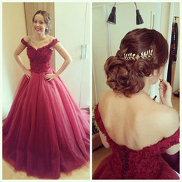 2016 Off-the-Shoulder Tulle Prom Dresses Appliques Lace-Up Ball Gown Burgundy Evening Gowns V Neck Princess Dresses