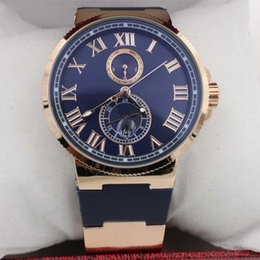 Wholesale Hot Sale UN Auto watch Blue Dial Gold Case Suisse Rubber Band Glass Back mm Mechanical watch