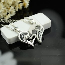 Wholesale Fashion vintage Personalized Silver Puzzle Necklace Set love heart letter pendant necklace for sister forever best friend gifts