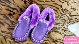 Wholesale real Australian sheepskin lambskin slipper moccasin indoor shoes men women unisex slipper long wool winter home slipper warm bootie
