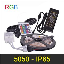 RGB IP65 LED Strip Light 5m 300LED Waterproof SMD5050 High Luminous With IR Remote Controller LED Strip Power Adapter 12V 5A